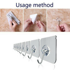 12Pcs Removable Self Adhesive Hooks Wall Door Plastic Strong Sticky Hook Holder