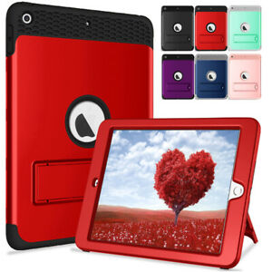 Hybrid Rugged Stand Case Cover For iPad 9.7 2017 2018 Mini 1/2/3/5 Pro Air 10.5