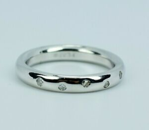 Platinum Round White Diamond Bezel Set Spaced Out Band Ring Size 5