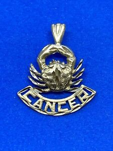 14K Yellow Gold Cancer Horoscope Crab Zodiac Sign Charm or Pendant