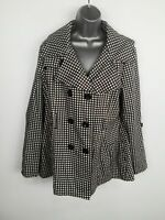 WOMENS NEXT CHECKED BUTTON UP DOUBLE BREASTED SMART FORMAL PEA COAT JACKET UK 18