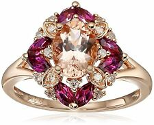 New 10K Size 7,8 Natural Morganite Rhodolite Diamond Halo Flower Ring Rose Gold