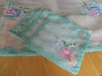 "Vtg 34""Organdy Luncheon Tablecloth Napkins Mint Green Appliqué Flower Linen Hem"