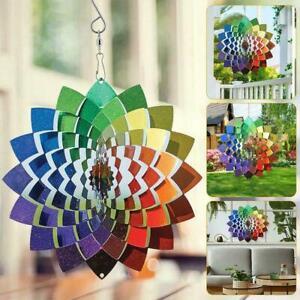3D Metal Outdoor Garden Window Decor Wind Spinner Steel Rainbow Flower G8X0