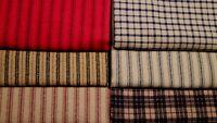 Primitive Vintage Red Christmas Ticking Stripe Plaid Flannel Doll Fabric Scraps