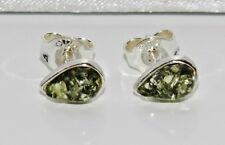 GREEN AMBER STERLING SILVER (925) LADIES PEAR SHAPED STUD EARRINGS