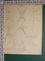 1811 Datato Antico Stampa ~Conics~ Hyperbola ~ Vari Diagrammi