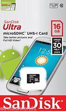 SanDisk 16GB Ultra Micro SD SDHC SDXC 30MB/s UHS-1 Class 10 Memory Card BRISBANE