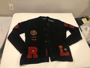NWT $395.00 Polo Ralph Lauren Mens Letterman Tiger Cardigan Sweater Black LARGE