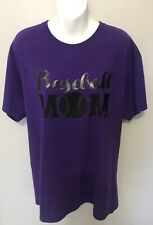 Baseball Mom Shirt Women's Mother Team Supporter  Mama Tee Purple Large Gildan