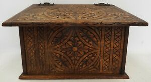 Vintage Wooden Box Hand Crafted With Hinged Lid And Carved Floral Designs - L33