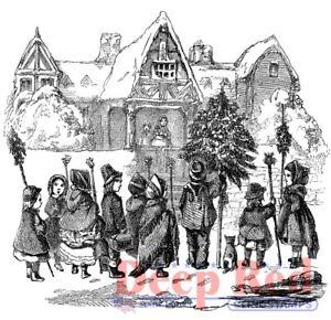 Deep Red Stamps Christmas Carolers Rubber Cling Stamp