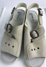 ROMIKA Beige Leather Ankle Strap Women's Buckle Sandals Size 7/38 Comfort Shoes