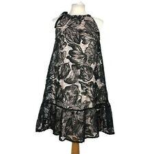 Topshop Black Floral Lace Halter neck Sheath Aline Party Cocktail Dress Size 8