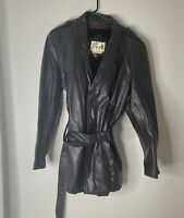 Womens Bermans 100% Leather Jacket 44 Brown Blazer Coat Jacket Button Sz Large