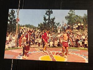 Vintage DISNEYLAND Postcard-Frontierland-Indian-Braves Village Dancers Guest C13