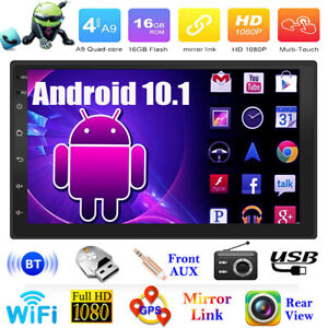 Double 2DIN 4Core Car Stereo MP5 Player Android 10.1 7in WiFi GPS FM Radio 16GB