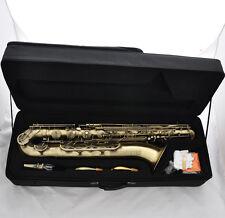 Professional Antique Baritone saxophone Eb Bari Sax Low A Key 2 Necks With Case