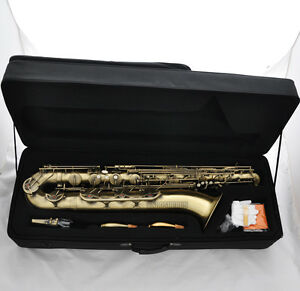 Professional Antique Baritone saxophone Eb Bari Sax Low A Key 2 Necks With Case