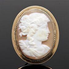 Rare Antique 14k Gold Greco-Roman Woman Portrait Cameo Brooch Pendant 15.4 grams