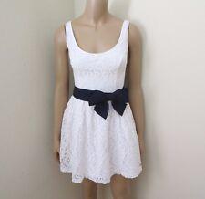 NWT Hollister Womens Lace Dress Size Medium White Navy Blue Bow