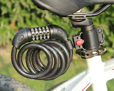 Hot Black Bike Bicycle cycling 5 Digit Password Lock Steel Wire with bracket