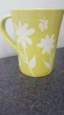 Starbucks Lime Green Embossed White Flowers & Butterflies Coffee Mug Cup 2007