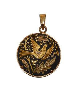 Vintage Toledo Damascene Pendant. Bird, Leaves & Flower Design. Beautiful!
