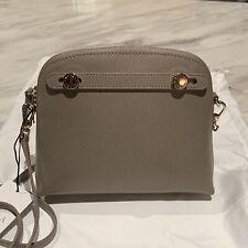 FURLA GREY MINI PIPER Italian Pebbled Leather Crossbody Bag Gold Tone Hardware