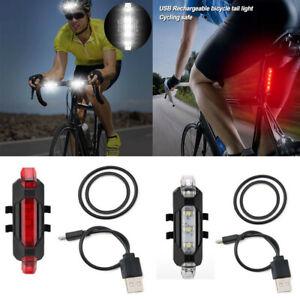 USB Rechargeable Bicycle Bike Lights Front Rear Hazard Light Waterproof 5 LED UK
