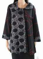 Radzoli Women's Jacket Deep Black Size Small S Dot Print Contrast Side $98 #411