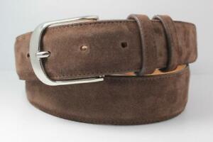Genuine Brown Italian Suede Leather Belt (Made in U.S.A)
