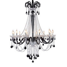 European style retro black/red/blue crystal chandelier dining room light lamp Yc