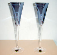 Waterford W Collection Champagne Flute Pair in Sky Blue Crystal 40030960 New