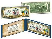 COA /& FOLIO! WASHINGTON LICENSED COLORIZED $2 Bill Honoring America/'s 50 States