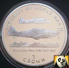 1995 la Isla de Man 1 uno corona Boulton desafiante la Segunda Guerra Mundial Aeronave moneda de plata prueba
