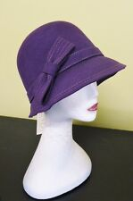 GRAPE Plum Purple Vintage Gatsby Style 57cm~Adj Ladies Felt Cloche WINTER HAT