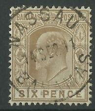 BAHAMAS KEV11 1911 SIX PENCE BISTRE-BROWN SG 74 USED
