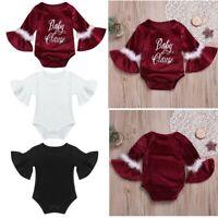 Newborn Baby Girls Romper Flare Sleeves Christmas Jumpsuit Solid Color Bodysuit