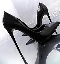 2017 LACK SCHWARZ HOHE Stiletto Pumps Elegant Damen Sexy O62 Schuhe High Heels