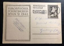 1942 Berlin Germany Stationery Postcard Cover Axis Powers Congress Vienna