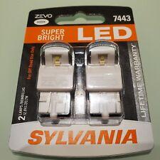 Sylvania ZEVO SUPER BRIGHT WHITE LED 7443 6000K Lifetime Warranty 2 Bulbs NEW