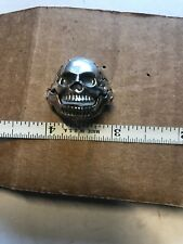 Sterling Silver Skull Ring Hinged Jaw Size 9-1/2