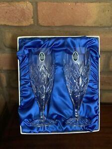 Pair of Royal Doulton Crystal Elizabeth Cut Pilsner Ale Glasses Unused ~ Boxed