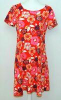 Liz Claiborne Womens Shift Dress Size M Orange Floral Short Sleeve Stretch