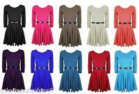 Girls Belted Skater Dress 3/4 Sleeve Flared Frankie Party Top