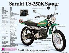 1973 SUZUKI TS-250K SAVAGE SALES SPECS AD