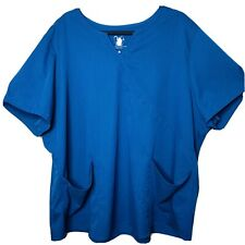 Nrg By Barco Teal Plus Size 4Xl Scrub Top Front Pockets Stretch