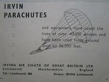 9/1958 PUB IRVIN IRVING AIR CHUTE RAF PARACHUTE ORIGINAL AD