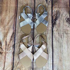 Bobbie Ankle Strap Sandals Women Size 9/10 Flat Sandals - NEW - 2 Pair